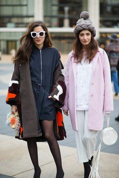 Eleonora Carisi (left)  - NEW YORK FASHION WEEK STREET STYLE: FALL 2015 -   - HarpersBAZAAR.com