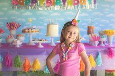 Birthday girl from a Rainbow Unicorn Themed Birthday Party via Kara's Party Ideas | KarasPartyIdeas.com (27)