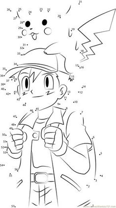 Download or print Cute Ash and Pikachu dot to dot printable worksheet from Cartoons,Pokemon connect the dots category. Festa Pokemon Go, Pokemon Party, Pokemon Craft, Fun Worksheets For Kids, Activities For Kids, Pokemon Coloring Sheets, Color By Number Printable, Dot To Dot Printables, Pokemon Birthday