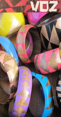 wooden painted bangles. looks like they would be easy to DIY