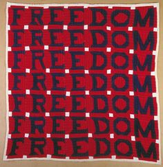 FREEDOM QUILT / Jessie B. Telfair (1913–1986), Parrott, Georgia, 1983, cotton with muslin backing and pencil inscription, 74 x 68 in., American Folk Art Museum, gift of Judith Alexander in loving memory of her sister, Rebecca Alexander, 2004.9.1, photo by Gavin Ashworth