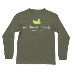 Youth Heathered Authentic Long Sleeve Tee in Washed Dark Green by Southern Marsh #$0-to-$50 #cf-size-l #cf-size-m