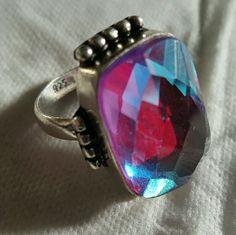 Rainbow Fire Quartz Ring Rainbow Fire Quartz Sterling Silver Ring (Size 7.5) Jewelry Rings