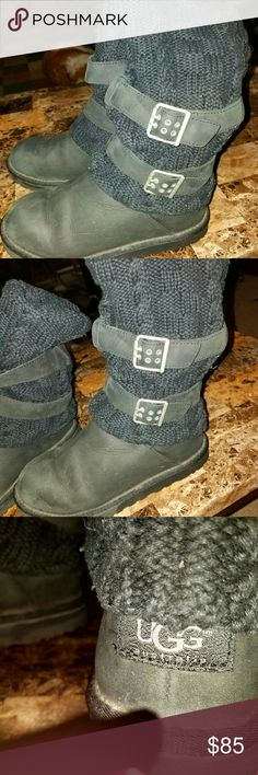 *FINAL MARKDOWN* UGGS Black leather and Cable knit UGGS only worn a few times. Just a little dusty looking in the picture from sitting in my closet. Reasonable offers considered UGG Shoes Winter & Rain Boots