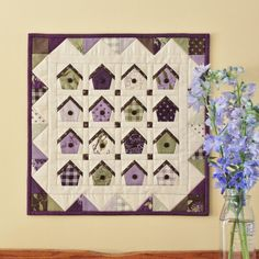 make this sweet birdhouse house quilt using mini charms or charm squares