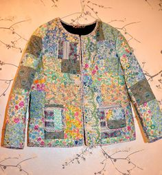 Liberty of London Patchwork Jacket Reversible with silver metal Studs