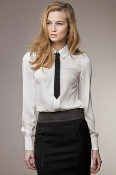 This White & Black Tie Button-Up is perfect! Office Dress Code, Office Dresses, Corsage, Night Outfits, Dress Outfits, Casino Dress Code, Bella Shirts, Casino Royale Dress, Casino Outfit