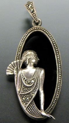 SS BLACK ONYX & MARCASITE ACCENTS ART DECO STYLE WOMAN IN FLAPPER DRESS PENDANT ebay