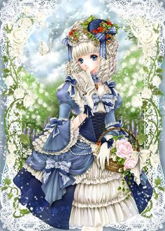 Princess with blond hair in ringlet curls, basket of pink flowers, & blue Rococo dress by manga artist Shiitake.