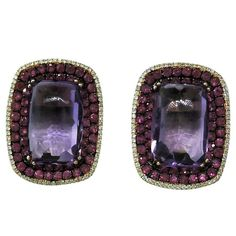 Modern Amethyst Ruby Diamond Gold Earrings   From a unique collection of vintage more earrings at https://www.1stdibs.com/jewelry/earrings/more-earrings/