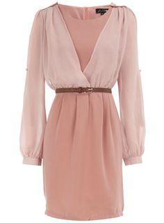 Pink v-sleeve dress - Party Dresses - Dresses - Dorothy Perkins
