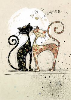 Two Lovecats - Bug Art greeting card - Cats - Chat Image Chat, Illustration Art, Illustrations, Bug Art, Photo Chat, Cat Cards, Greeting Cards, Cat Quilt, Cat Drawing