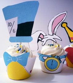 Alice In Wonderland Cupcake Wrappers and Toppers