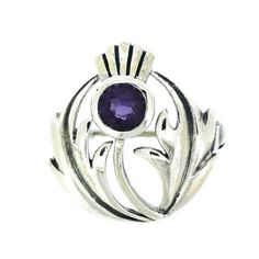 Brooches Store Sterling Silver Round Thistle and Amethyst Crystal Brooch * You can get additional details at the image link. #BroochesandPins