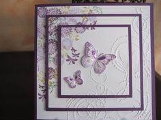 Embossed Triple Layer by Michele G - Cards and Paper Crafts at… butterflies Butterfly Cards, Flower Cards, Purple Butterfly, Pretty Cards, Cute Cards, Birthday Cards For Women, Birthday Cards Handmade Female, Female Birthday Cards, Embossed Cards