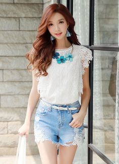Korean Women`s Fashion Shopping Mall, Styleonme. Lace Denim Shorts, Denim And Lace, Fashion Pants, Fashion Models, Pretty Asian, Korean Women, Embroidered Lace, Girl Hairstyles, Asian Hairstyles