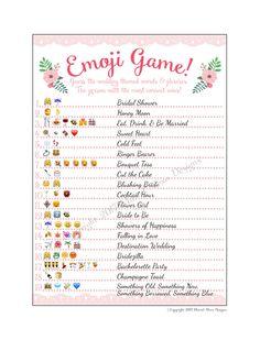 Bridal Shower Emoji Game Fun Unique Games by MarielAlexaDesigns