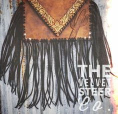 The Velvet Steer Co. Cactus Fringe Western Clutch (cheetah tooling on back) #thevelvetsteerco