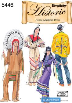 Native American Dress Costume, American Indian Costume Pattern, Historical Costume, Cowboys and Indians, New Simplicity 5446 Paper Pattern