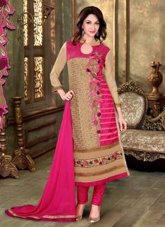 Add the sense of feminine splendor by this Deep Pink Georgette Unstitched Salwar Kameez. The lovely Resham & Lace work a substantial attribute of this attire. Top Details Color - Pink Sub Color - Deep