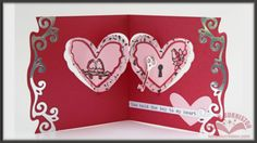 This card is made with the Karen Burniston Pop it Ups Heart Pivot Card die and Agatha Edges from Elizabeth Craft Designs.