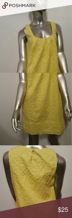 """J.CREW Pocketed Yellow Cotton Dress Sz 6 Worn Once Lovely Summer J.CREW Tunic Dress Sz 6  Prestine condition- Maybe worn once   Side pockets   Fully Lined  Concealed side zip  Fabrication- 100% textured Cotton  Color- Lemon Yellow  Measurements- Chest =36"""" Lenght=33.5  Perfect with your favorite sandals   Feel free to contact me with any questions or concerns prior to purchase   Thank you! J. Crew Dresses"""