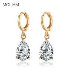 39b12488380b MOLIAM New Arrival Fashion Drop Earrings Hot Sale Gold Color Earings AAA  Cubic Zircon Lovely Dangle Earring for Women MLE010-in Drop Earrings from  Jewelry ...