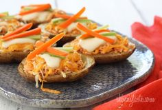 Skinny Buffalo Chicken Potato Skins [Skinnytaste]. 82cals per loaded potato skin