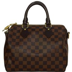 Pre-owned LOUIS VUITTON Damier Canvas 25cm Speedy Bandouliere Bag GHW ($1,175) ❤ liked on Polyvore featuring bags, handbags, purses, handbags and purses, crossbody handbags, canvas purse, messenger bag purse, courier bag and louis vuitton