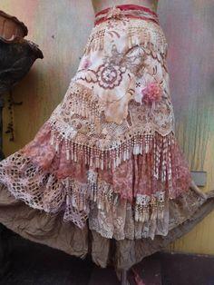 wedding skirttattered skirt mori girl stevie nicks
