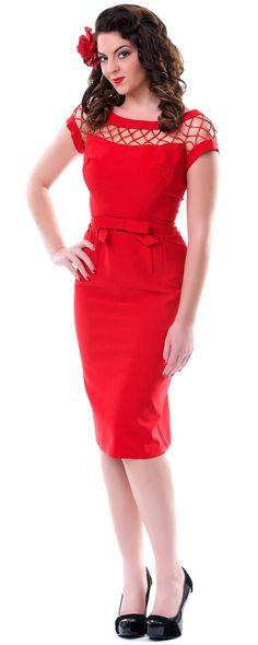 Red Alika Pencil Skirt Wiggle Dress - Unique Vintage - Homecoming Dresses, Pinup & Prom Dresses.