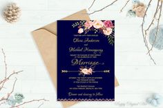 Navy Wedding Invitation Printable Wedding by PreppyDigitalArt