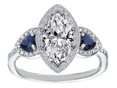 Marquise Diamond Halo Engagement Ring Pear Shape Blue Sapphire Side Stones in 14K White Gold