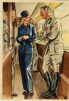 German postcard, 1943, showing women supporting the war effort by working in traditionally male jobs.