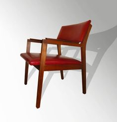 Cranberry Red Vinyl and Walnut Arm Chair (SOLD)
