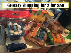 Grocery shopping for 2 for $60 - Aldi haul. View post at http://www.awritercooks.com/grocery-shopping-and-meal-plan-august-1/