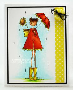 COPIC COLORING:  SKIN:  E11, E01, E000, R30, BV20  HAIR:  E57, E55, E53, E51  RAINCOAT, UMBRELLA:  R08, R05, R02, Y15, Y11, Y00  BOOTS, FLOWER POT:  Y15, Y11, Y00  FLOWER:  Y15, Y11, Y00, E57, E55, E53, E51, YG03, YG01, YG0000  GROUND:  YG03, YG01, YG0000  SKY:  BG0000 - Details are on my blog.  (Stamping Bella; Uptown Girl Lolly and her Brolly)