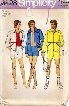Simplicity 6428 UNCUT Vintage Sewing Pattern Men's Shorts, Casual Jacket, Summer Sportswear Size Chest 36 by midvalecottage on Etsy 70s Fashion Men, Tennis Fashion, Vintage Fashion, Tennis Shorts, Tennis Clothes, Vintage Tennis, Vintage Men, Mens Sewing Patterns, Vintage Patterns