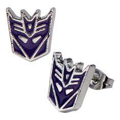 Transformers Decepticon Purple Stainless Steel Stud Earrings