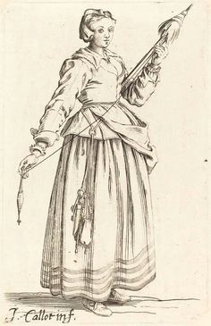 Young woman with distaff - Jaques Callot 17th century