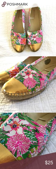 """Lilly Pulitzer for Target Nosie Posey Espadrilles From the Lilly Pulitzer for Target Collection. """"Nosie Posey"""" gold toe espadrilles with bold, bright, fun colors. Size 10.5. Very comfortable. Only worn a few times. In great condition. Price is firm; no offers please. Lilly Pulitzer for Target Shoes Espadrilles"""