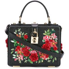 Dolce & Gabbana floral embroidered box bag (1.276.470 HUF) via Polyvore featuring bags, handbags, black, top handle leather handbags, metallic leather handbags, genuine leather purse, leather purses and metallic purse