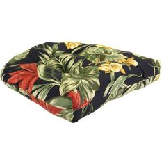 Jordan Manufacturing Floral Outdoor Tufted Wicker Seat Cushion Multiple Patterns