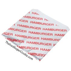Hamburger bag foil wrappers. Great for 1950's Diner or Sock Hop birthday party, circus birthday party, carnival birthday party, or fair birthday party. Party Su...