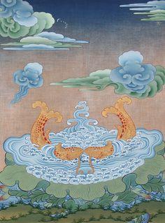 Golden Fish by Tashi Dhargyal Buddhist Symbols, Buddhist Art, Tibetan Art, Tibetan Buddhism, Thangka Painting, Golden Fish, Art Asiatique, Cloud Art, Fish Art