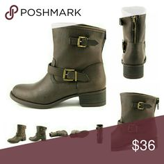 """🎉🎉🎉2X HOST PICK - Ladies trendy boots🎉🎉🎉 Dark Brown / Width B(M) / Faux Leather Upper Material / Man-Made Outsole Material /Round Toe Toe Type/ 1.5"""" Heel Height / 5.75"""" Shaft Height /11.5"""" Circumference / Style: Othello Wild Pair Shoes Ankle Boots & Booties"""