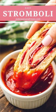 Stromboli is a family favorite quick and easy dinner recipe. You can use homemade pizza dough, frozen bread dough or store bought pizza… Jamie Oliver, Easy Dinner Recipes, Easy Meals, Dinner Ideas, Store Bought Pizza Dough, Pasta, Game Day Food, Dough Recipe, Recipe Using