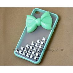 Light Green Bow Iphone 4 case, Iphone 4S case, Silver stud Iphone 4... (19 CAD) ❤ liked on Polyvore featuring accessories, tech accessories, phone cases, phones, cases, iphone, silver iphone case, mint green iphone case, iphone sleeve case and iphone cover case