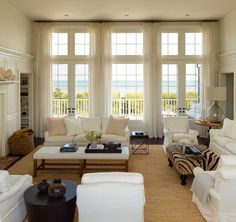 Beach House Interior Design New Chic Coastal Living Hamptons Beach House A Wainscott Beauty – Decorating Ideas Transom Windows, Floor To Ceiling Windows, Tall Windows, Wall Of Windows, Coastal Living Rooms, Cottage Living, Houses Architecture, Architecture Interiors, Architecture Design