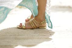 SHOEDAZZLE gold sandals